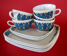 Retro Vintage Figgjo Flint Norway Clupea Cups, Dinner Plates Side Plates - Bris