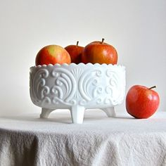 Milk Glass Footed Bowl by Imperial in the Scroll Pattern