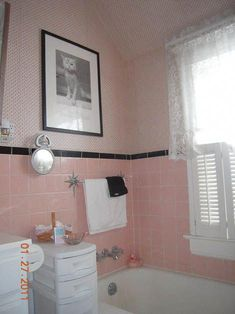A Mamie pink bathroom for Jamie - Retro Renovation Obsessed with that towel bar! Black Tile Bathrooms, Pink Bathroom Tiles, Pink Tiles, Vintage Bathrooms, Pink Bathrooms, Bathroom Ideas, Bungalow Bathroom, 1950s Bathroom, Bathroom Images