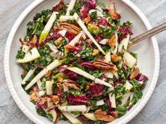 Kale, Apple and Pancetta Salad - to make it easier I bought a premaid maple syrup vinaigrette that had same ingredients and left out pancetta