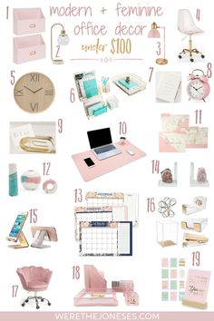Modern And Pretty Decor For Your Girl Boss Office Stylish And Trendy Office Accessories That Are Affordable - I Don't Know About Yall, But When My Workspace Is Pretty To Look At It Makes Me More Productive - Or At Least That's What I Tell Myself Feminine Office Decor, Cute Office Decor, Modern Office Decor, Cute Room Decor, Home Office Design, Home Design, Gold Room Decor, Office Setup, Office Lighting