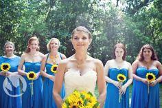bridesmaids-sunflowers-cobalt-blue-bride-strapless