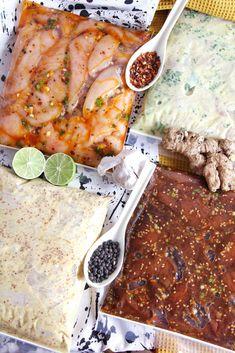 """4 """"Marinades Express"""" recipe ideas for chicken!- 4 """"Marinades Express"""" recipe ideas for chicken! Bbq Appetizers, Appetizer Recipes, Stew Meat Recipes, Chicken Recipes, Naan, Recetas Puertorriqueñas, Bulgogi Recipe, Marinade Sauce, Grilled Meat"""