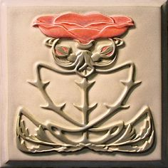Lewellen Tiles: Art Nouveau Series Porcelain Tiles: Rose