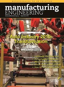 The September 2015 issue of Manufacturing Engineering is now online. The September issue of Manufacturing Engineering focuses on motorized vehicle manufacturing. The automotive sector is going through a massive transformations as automakers and their suppliers invest in advanced technologies to deliver vehicles that must meet, on average, 54.5 miles per gallon by 2025.