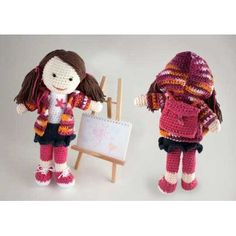 Free Pattern. Login required. Back to School Lily Doll in Lily Sugar and Cream Solids | Knitting Patterns | LoveKnitting