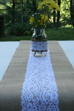 1 Burlap and Lace Table Runner by NRZimmerLong on Etsy, $13.50