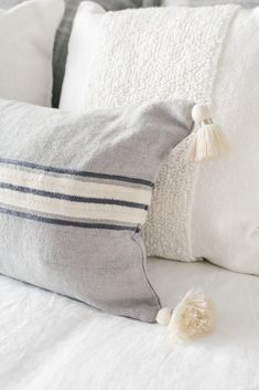 Serena & Lilly Striped Gray Pillow