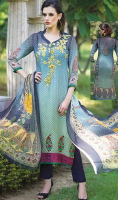 Complete your summer look by draping this pant style suit in blue and green color georgette. The lace, printed and resham work seems to be chic and excellent for any get together. #reshamembroideredsuits #pakistanidesigndress #pakistanidresses