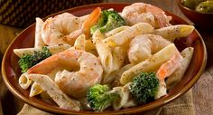 Mediterranean Shrimp with Broccoli and Penne Pasta. Delicious Hot or Cold! What a wonderfully light and delicious pasta dish!  I definitely can see this as a hot main course, or as a chilled salad both served with a chilled Pinot Grigio and 5 grain Italian rolls! What could be bad? Pasta, shrimp, broccoli florets, cream and cream cheese with just a smattering of seasoning!  | Creative Elegance Catering