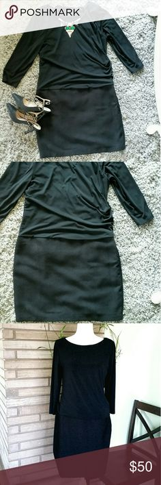 Ann Taylor Black Dress Top part is ruched on the side. Bottom part is twill above the knee skirt.  Great condition.   Bundle and save. Ann Taylor Dresses