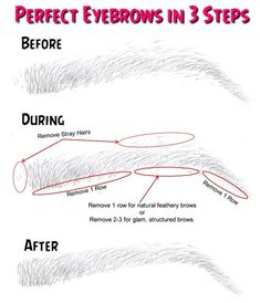 Perfect Eyebrows in 3 Steps - Beauty Tutorials Permanent Makeup Eyebrows, Eyebrow Makeup, Hair Makeup, Eye Brows, How To Pluck Eyebrows, How To Shape Eyebrows, Thick Eyebrows, Plucking Perfect Eyebrows, Eyebrow Tips