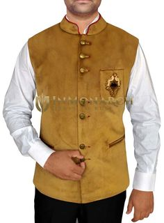 Mens Golden Nehru Waistcoat Embroidery Work