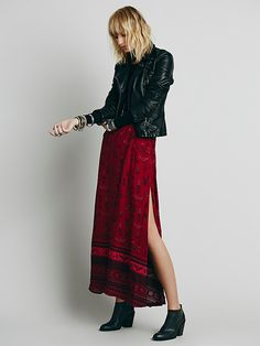 Free People Phoenix Print Maxi Skirt, $99.95 Size: S Color: Red