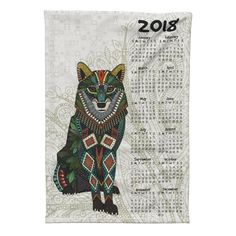 Special Edition Spoonflower Tea Towel featuring wolf 2018 calendar tea towel by scrummy | Roostery Home Decor @roostery #specialedition #wold #calendar #teatowel #2018 #scrummy
