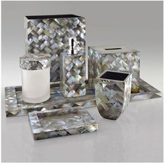 Black Mother Of Pearl Shell Bathroom Set
