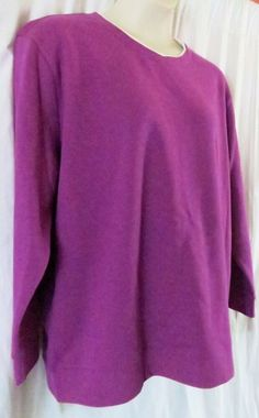01720e714a2156 Laura Scott Woman Top 2XL Long Sleeve Jersey Purple  LauraScott  Pullover   Casual Dress
