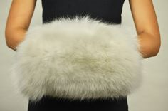 Scaldamani pelliccia volpe bianca naturale  www.amifur.com