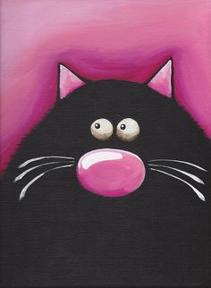 Pretty in Pink  Fat Cat Art by stressiecat on Etsy