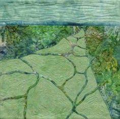 "'Blue Hills'  ©️ 2015 CarolynCollinsArt   12"" x 12"" Hand dyed fabric, reverse applique"