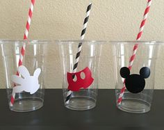 Mickey Mouse Party cups by DivineGlitters on Etsy Mickey Mouse Cups, Mickey Mouse Birthday Decorations, Mickey Mouse Party Supplies, Fiesta Mickey Mouse, Mickey Mouse Parties, Mickey Party, Pirate Party, Mickey Mouse First Birthday, Mickey Mouse Clubhouse Birthday Party