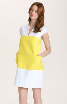 shift dress | kate spade new york dress & accessories | Nordstrom #vestido #tubinho #manga #bolso #colorblock #amarelo #branco