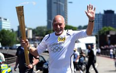 Patrick Stewart gets to run with the Olympic Torch n Croydon LOCOG/Getty Images