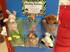 First Grade Spies: Made it Monday - Trash to Treasure! Love the shoe hanger for book buddies and the remade coffee table turned writing center! Re-use old beanie babies! Reading Corner Classroom, Year 1 Classroom, First Grade Classroom, Classroom Displays, Preschool Classroom, Teaching Reading, In Kindergarten, Book Corner Eyfs, Preschool Library Center