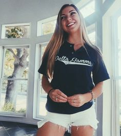 Delta Gamma Baseball Tees designed by College Hill Custom Threads! Start a design today and visit chthreads.com