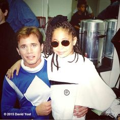 David Yost with the super talented & funny Raven-Symoné back in the day. (And yes that is Michael Fishman from Roseanne in the background). Power Rangers 1995, David Yost, Raven Symone, Collage Vintage, Mighty Morphin Power Rangers, Back In The Day, Dbz, Pin Up, Power Ranges