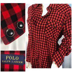 066f7b2b76 Ralph Lauren Polo Snap Shirt Womens L Red Black Buffalo Plaid Western