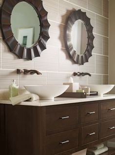 We love to accent bathroom cabinetry with a stylish basin sink and lively mirrors to make a #contemporary design really pop. #OmegaVanityMakeover #contest Custom Bathroom Cabinets, Painting Bathroom Cabinets, Bath Cabinets, Kitchen Cabinetry, Custom Cabinets, Bathroom Furniture, Small Master Bath, Bathroom Inspiration, Bathroom Ideas