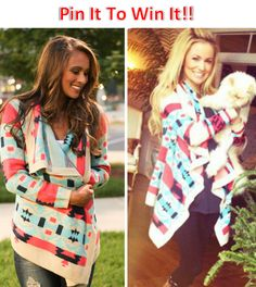 PIN IT TO WIN IT!!!!!! Our Bonfire cardigan will be back in stock 8/22/14 and we are giving one a way. Repin this photo and comment with your size. Winner will be picked Friday! @thepinklilyboutique www.thepinklilyboutique.com