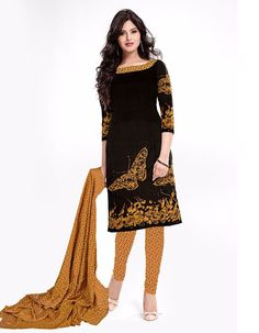 Women's Black Printed Cotton Unstitched Dress Material  Latest Designer, Top-Black Cotton Printed 2.25 Meter, Bottom-Orange Cotton 2.25 Meter Dupatta-Orange Chiffon Casual Wear Straight Cut Un-Stitched Dress Material. The Image Are For Photography Purpose. (Slight Color Variation Is Possible)