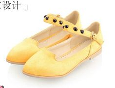 Women new Fashion rivet pointed toe flats multicolour buckle low-heeled PU scrub shoes large plus size 40-43