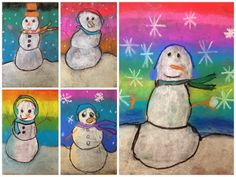 For the Love of Art: Winter Snowmen - Kunstunterricht grundschule - Chalk Art Art Lessons For Kids, Art Lessons Elementary, Art For Kids, Winter Art Projects, School Art Projects, Kindergarten Art, Preschool Art, Special Needs Art, January Art