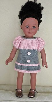 Free knitting pattern--pink & grey dress, I like pink and gray together. Knitting Dolls Clothes, Ag Doll Clothes, Crochet Doll Clothes, Doll Clothes Patterns, Dress Patterns, American Girl Outfits, American Doll Clothes, American Girls, Knitted Doll Patterns