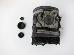 Upcycled Button Cuff Bracelet Black & Silver Goth by BubblegumSass, $25.00