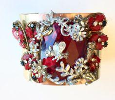 Ladies Cuff Bracelet Rhinestones Crystal by SprayPaintArtStudio