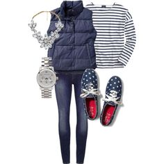 """""""Puffer Vest"""" by fashionscoutapp on Polyvore. Before you know it fall is going to be here. Get ready for those crisp autumn days with a super versatile puffer vest. Make it casual with jeans and tennis shoes or add on some sparkle with a statement necklace and classic watch."""