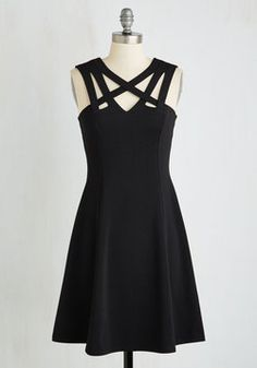 Darling of the Dance-a-thon Dress in Black. The classic hue and chic cutouts of this obsidian dress will keep you dancing 'til sunrise! #black #modcloth