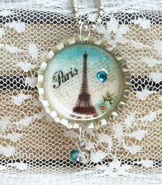 Bottle Cap Necklace Eiffel Tower Necklace by IngridsCreations
