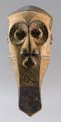 Africa | 'kabongo' mask from the Kuba people of DR Congo | Wood and pigment
