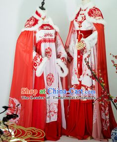 Top Chinese Ancient Bridal Guzhuang Hanfu Women's Clothing & Apparel Chinese Traditional Dress Theater and Reenactment Costumes Complete Set
