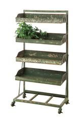 Distressed Green Finish Tier shelf on casters