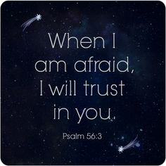 When I am afraid, I will trust in you. - Psalm 56:3 Scripture Quotes, Faith Quotes, Quotable Quotes, Bible Verses, Me Quotes, Good Scriptures, God Is Good, Spiritual Inspiration, Word Of God