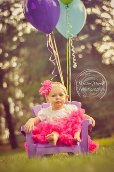 Adorable 1st Birthday girl all dressed up with balloons - Kristin Merck Photography, LLC