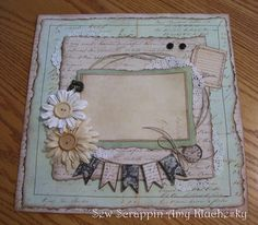 Handmade Scrapbook Layout Vintage Prima Tan and by SewScrappin, $10.00