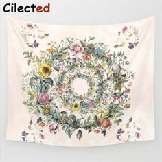 Mandala Circle of life-floral Tapestry Wall Hanging Hippie Home Tapestries Decor Colorful Tapestry, Blue Tapestry, Mandala Tapestry, Tapestry Floral, Bohemian Tapestry, Psychedelic Tapestry, Elephant Tapestry, Dorm Tapestry, Tapestry Bedroom