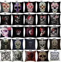Home | Golden Skull Fashion Pattern Cotton Linen Home Decorative Pillow Case Cushion Cover